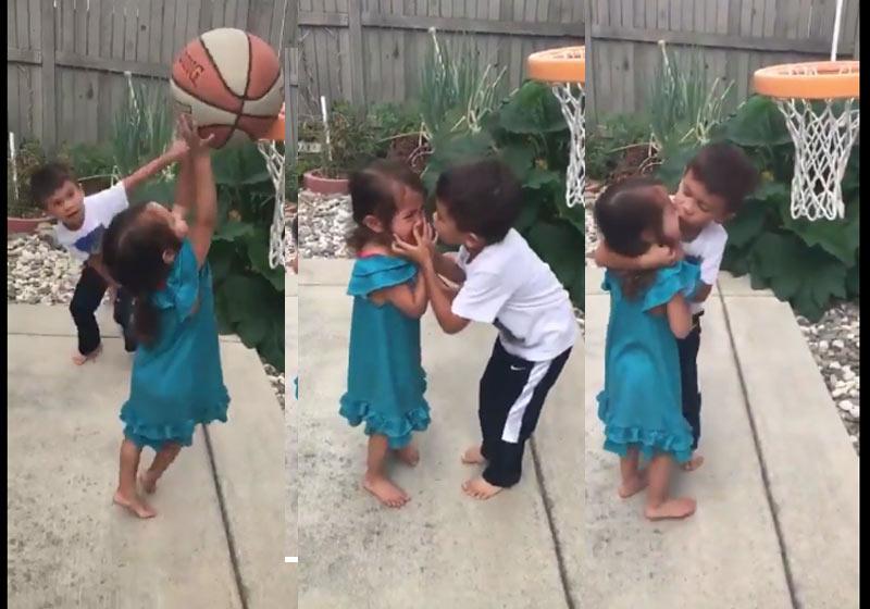 Menino tem reação linda após irmã se machucar no basquete: vídeo