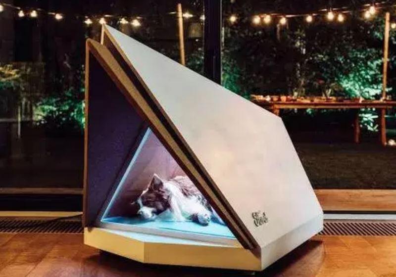 Criada casinha para cães à prova de ruídos e fogos de artifício